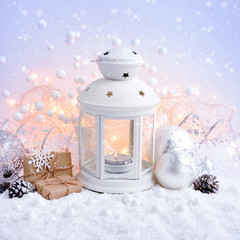 Christmas composition with lantern. Festive Christmas background.