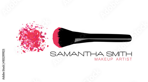 Makeup Artist Business Card Vector Template With Pink Crumbled Face Cosmetic Powder Blusher Black