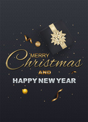 Merry Christmas and Happy New Year on Background Typography and Elements. greeting card or poster template flyer or invitation design.