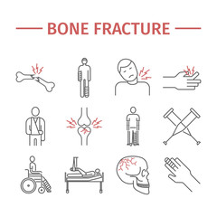 Bone Fractures line icons. Treatment. Infographic. Vector illustrations