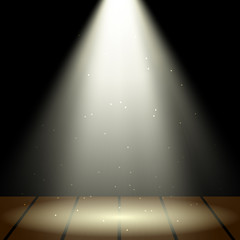 Spotlight over a wooden stage. Vector illustration
