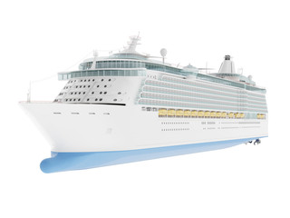 Beautiful huge cruise ship isolated on white background. 3D rendering