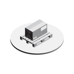 pallet whith box isometric