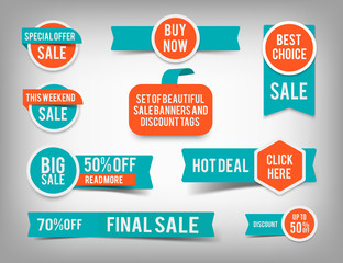 Set of banner elements, vector offer tag collection, discount label design, sale web coupons promotion badge icons retail sign collection, best price business poster