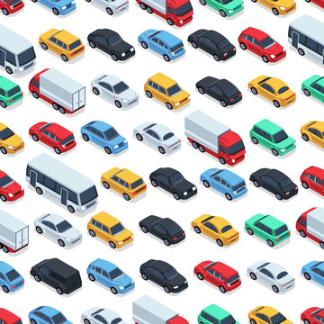 Urban cars seamless texture. Vector background. Isometric cars
