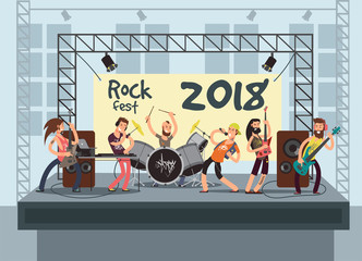 Music performance on stage with young musicians. Rock concert vector background