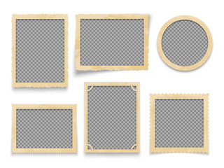 Vintage photo frames isolated. Vector antique picture borders collection