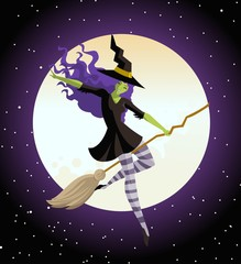 witch flying in the sky