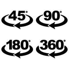 45, 90, 180 and 360 degrees view sign icons.