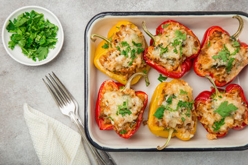 bell peppers stufed with meat,  vegetables and cheese