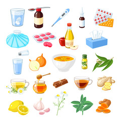 Set of home remedy for sore throat, flu, influenza, cough: medicine syrup, honey, natural herbs and spices, lozenges, pills, capsules, drugs. Vector illustration cartoon icon isolated on white.