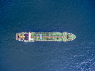 aerial top view tanker ship park in sea .