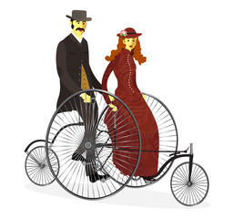 Retro couple of cyclists on bicycle vector illustration