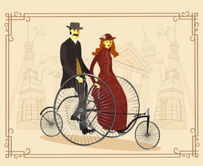 England Couple of cyclists on bicycle vector illustration