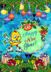 """Holiday card with pine branches, cute chicken and greeting text:""""Happy New Year!""""."""