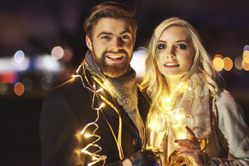 Portrait of in love couple at new year