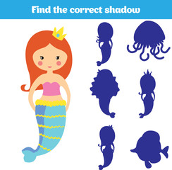 Shadow matching game for children. Find the right shadow. Activity for preschool kids. Theme mermaid sea, ocean, fish. Vector illustration.