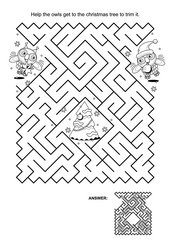 Maze game and coloring page: Help the owls get to the christmas tree to trim it. Answer included.