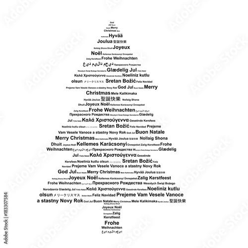 Frohe Weihnachten Auf Allen Sprachen.Weihnachtsbaum In Verschiedenen Sprachen Frohe Weihnachten