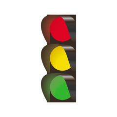 Traffic light on white background tree lights on realistic