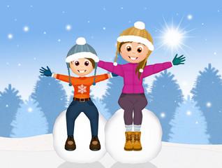 children on snowball