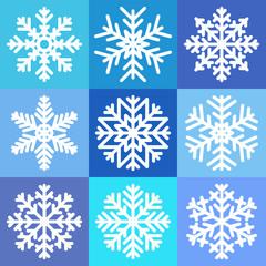 Set of 9 white snowflakes. Vector illustration.