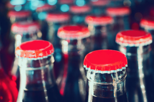 soft drinks in bottles background