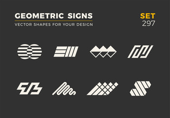 Set of eight minimalistic trendy shapes. Stylish vector logo emblems for Your design. Simple geometric signs collection. Wall mural
