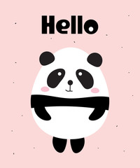 Cute Panda Bear Say Hello