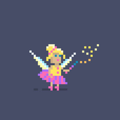 Pixel art cute fairy princess.