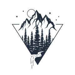 Hand drawn inspirational label with pine trees and mountains textured vector illustrations.