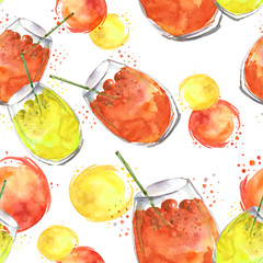 Seamless watercolor background with drinks, - cocktail, cherry juice, a glass with a drink, a berry. Yellow fruit lemonade. Berry cherry, a transparent beautiful glass. Vintage background