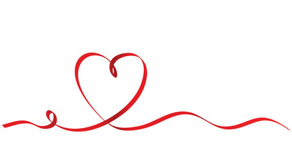 Calligraphy Red Ribbon Heart on White Background, Vector Stock Illustration