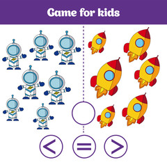 Education logic game for preschool kids. Choose the correct answer. More, less or equal Vector illustration. Cosmos design