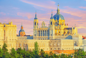 Panorama view on Royal Palace (Palacio Real) in the capital of Spain - beautiful city Madrid from a bird's eye view.