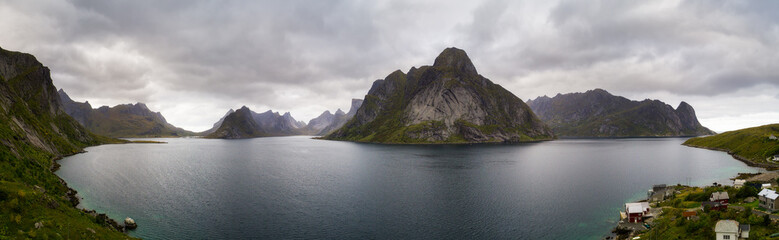 Wall Mural - Aerial view of a Kirkefjord and Mount Olstind on Lofoten islands