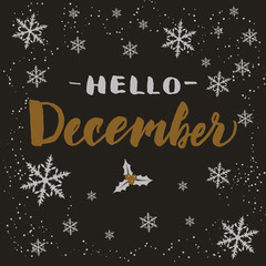 Hand drawn typography lettering phrase Hello December isolated on the dark background with snowflakes. Brush ink calligraphy inscription for winter greeting invitation card, print etc