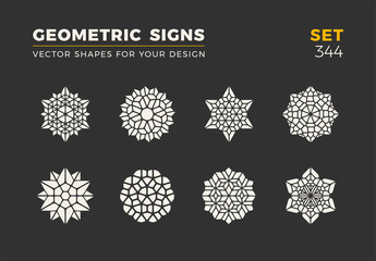 Set of eight minimalistic trendy shapes. Stylish vector logo emblems for Your design. Simple geometric signs collection.