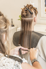 Girl having haircut
