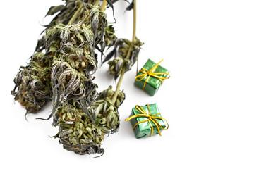 Christmas Cannabis stock images. Marijuana isolated on a white background. Merry Cannabis Christmas. Hemp Christmas decorations