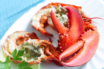 Boiled lobster with parsley lime garlic and butter for dinner seafood concept