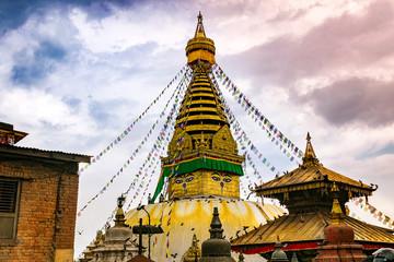 buddhist stupa in temple monkeys in kathmandu. nepal.
