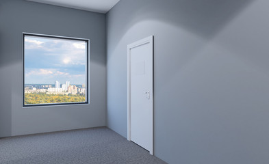 Closed doors in a modern office. 3D rendering