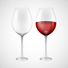 Wineglass with red wine. Illustration isolated on background. Graphic concept for your design