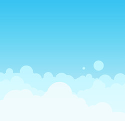 Vector Beautiful minimalistic cloudscape in sunny day