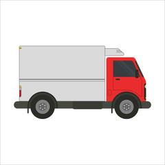Refrigerator truck vector flat illustration