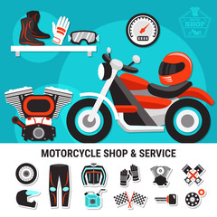 Motorcycle Shop And Service Illustration