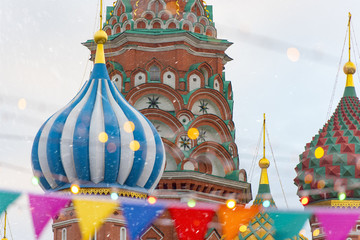 Moscow, Russia, Christmas Tree at the Red Square, Winter New Year market