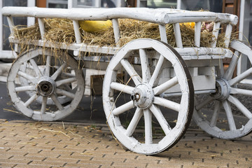 Close-up of vintage old rough wooden horse cart in city park, rustic retro transport