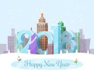 Happy New Year Snowy City Vector Illustration